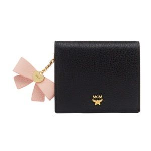 MCM Black Mina Bow Charm Two Fold Leather Wallet